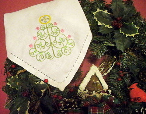 Filigree Christmas Trees machine embroidery at www.SewInspiredByBonnie