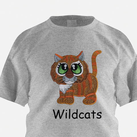 Picture of machine appliqued cat with GlitterFlex on shirt at Sew Inspired by Bonnie
