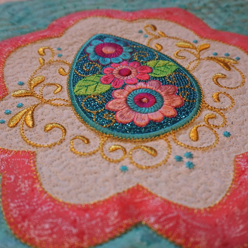 Picture of machine applique design using GlitterFlex at Sew Inspired by Bonnie