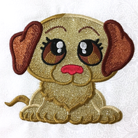 This is an image of a machine embroidered applique dog. It's done with GlitterFlex HTV but ordinary fabric may be used.
