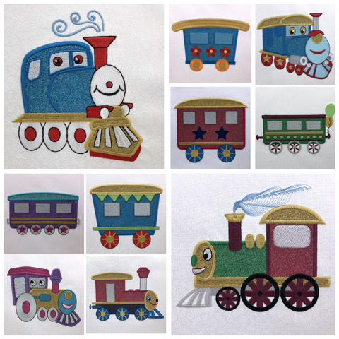 Train Buddies machine applique designs by Sew Inspired by Bonnie