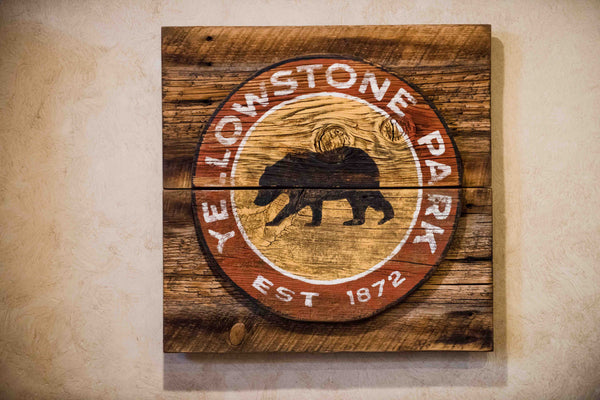 3D Grizzly Yellowstone Sign