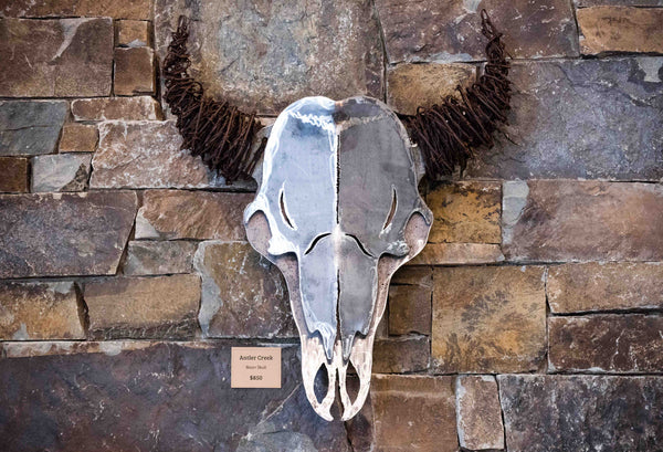 Barbed Wire Bison Skull