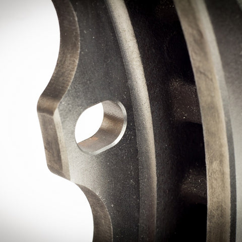 AMT Motorsport Full Floating rotor backside slot and chamfer