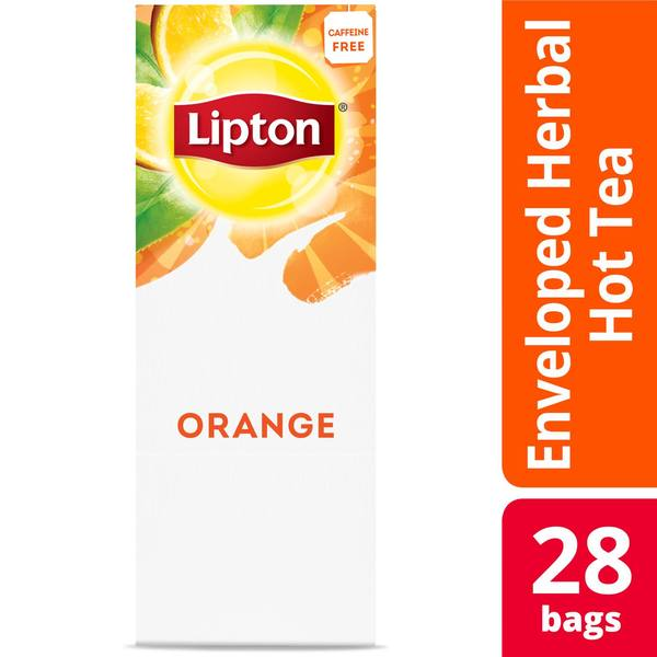 Lipton Hot Tea Bags Orange Herbal Tea 28 Count