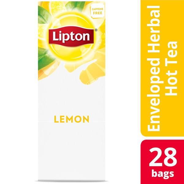 Lipton Hot Tea Bags Lemon Herbal Tea 28 Count