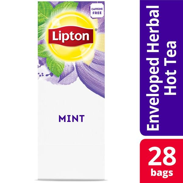 Lipton Hot Tea Bags Mint Herbal Tea 28 Count