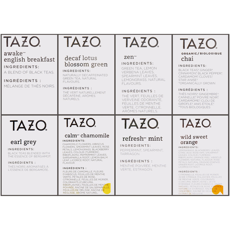 Tazo Hot Tea Filterbag Assorted Variety Pack 24 count Pack of 16
