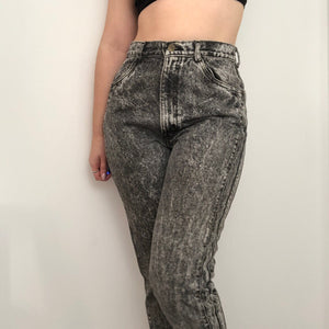 80s Acid Wash Mom Jeans With Bow Details