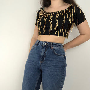 Beaded Shimmy Crop Top