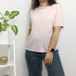 90s Pink Embroidered Flower T-Shirt