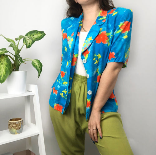Bright Floral Blouse/ Blazer