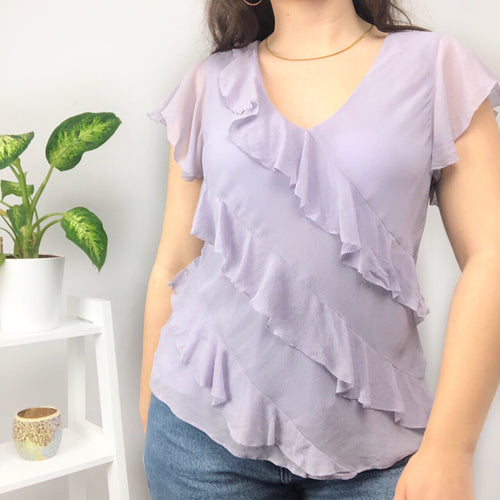 90s/Y2K Lilac Frill Blouse