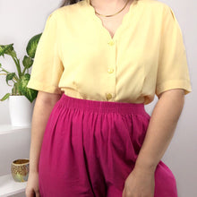 80s Lemon Yellow Blouse