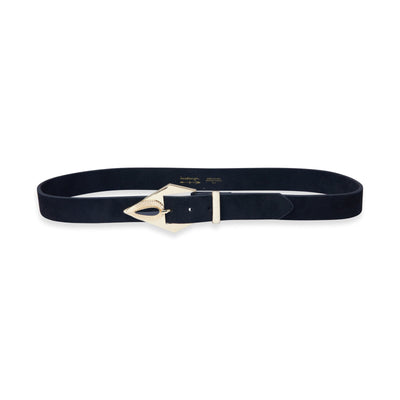 Addie Suede Belt with Gold Buckle in Black