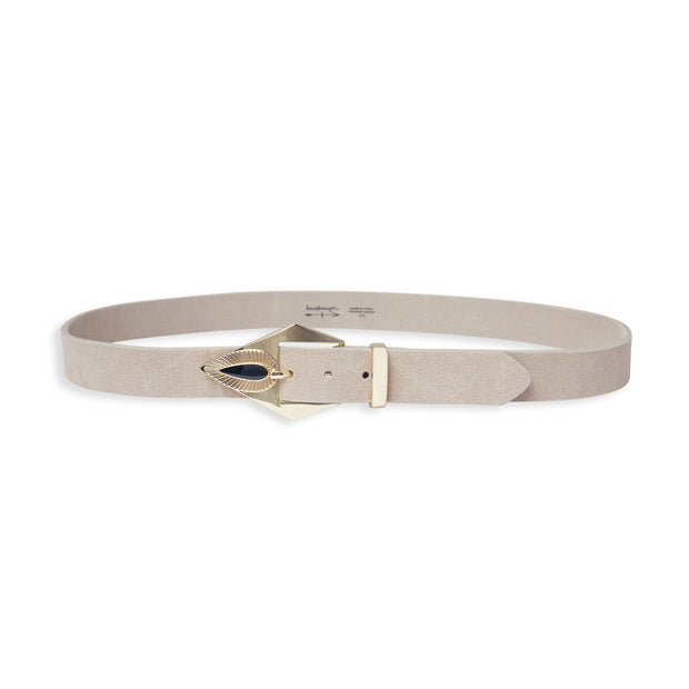 Addie Suede Belt with Gold Buckle in Tan