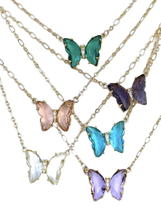 Butterfly Necklace in Peach