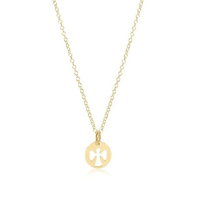 "16"" Necklace Gold Guardian Angel Small Gold Charm"