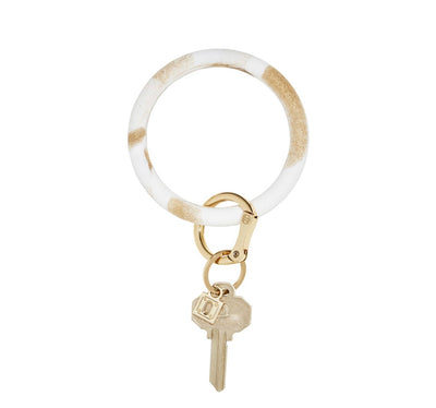 "Silicone Big O Key Ring ""Gold Rush Marble """
