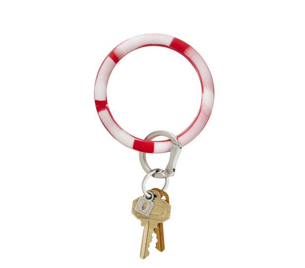 "Silicone Big O Key Ring ""Cherry On Top Marble"""