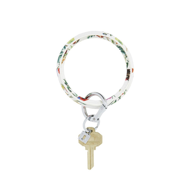 "Leather Big O Key Ring ""White Floral"""