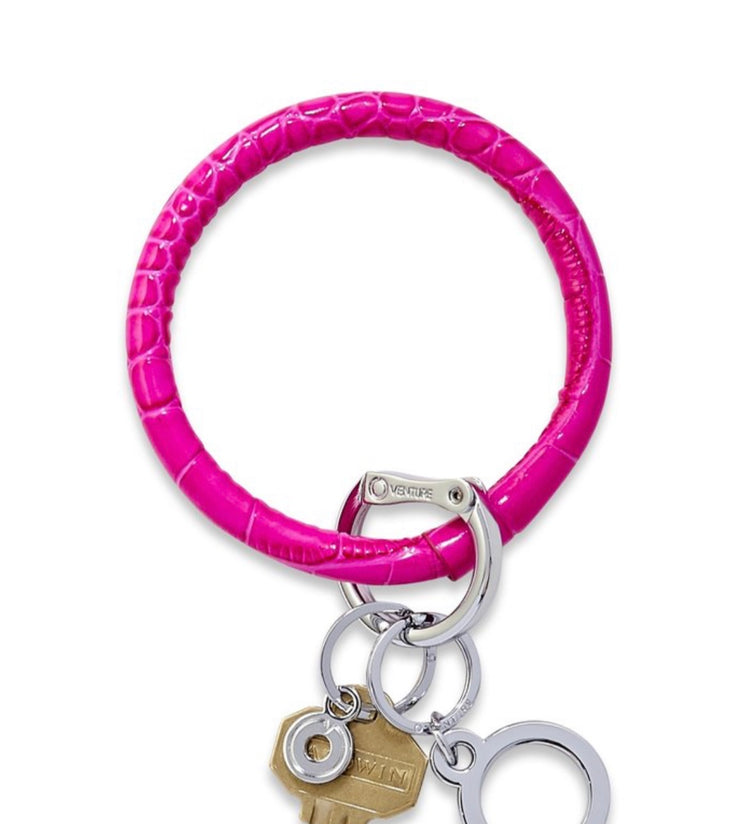 "Leather Big O Key Ring ""Pink Topaz Croc"""