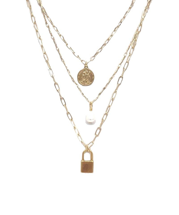 Pearl St. Christopher Lock Necklace