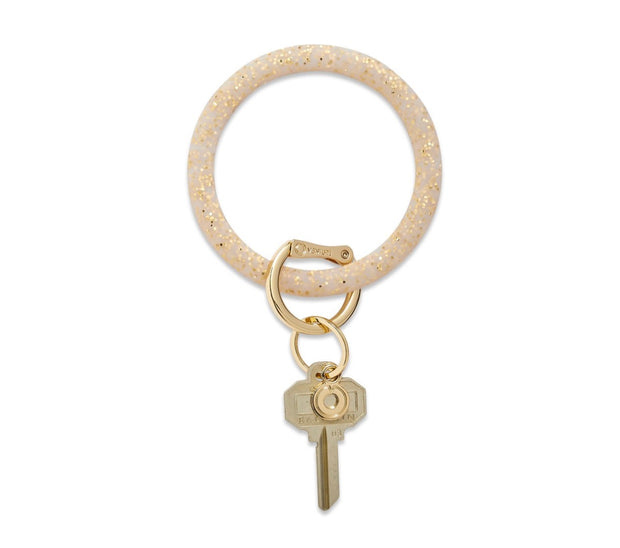 "Silicone Big O Key Ring ""Gold Confetti"""
