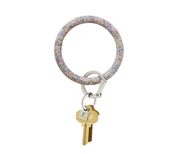 "Silicone Big O Key Ring ""Rainbow Confetti"""