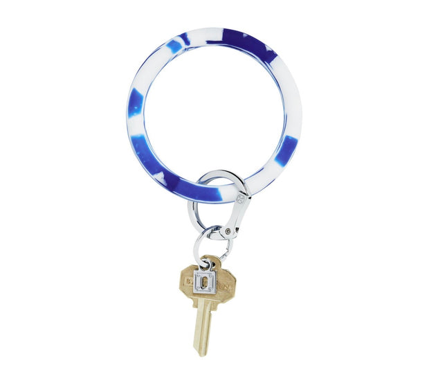 "Silicone Big O Key Ring ""Blue Me Away Marble"""