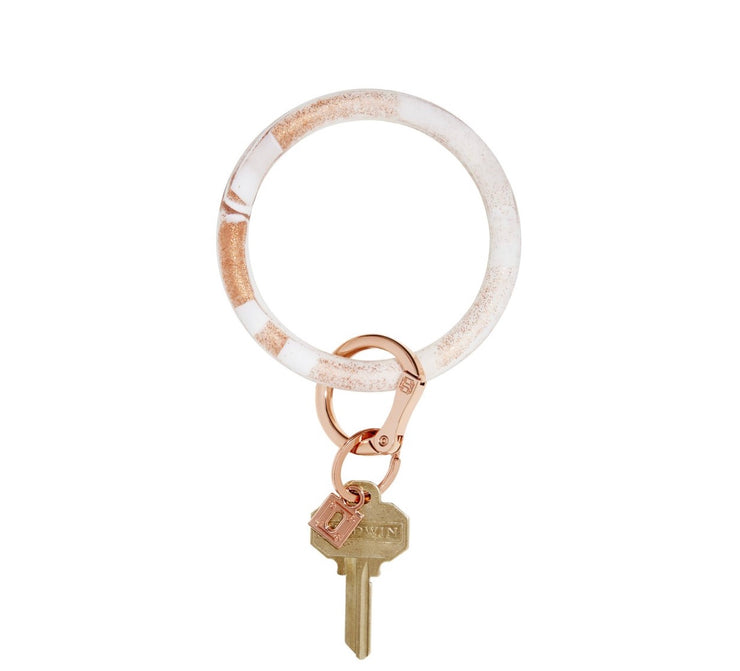 "Silicone Big O Key Ring ""Rose Gold Marble"""