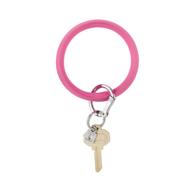 "Vegan Leather Big O Key Ring ""Tickled Pink"""