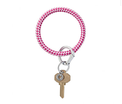 "Leather Big O Key Ring ""Tickled Pink Riviera"""