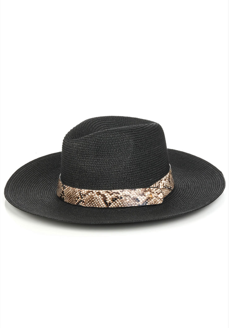 Straw Hat with Band Black