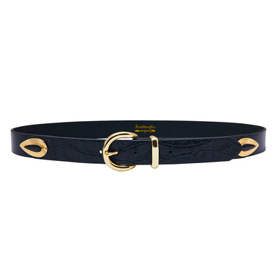 Lo Croc Gold Accented Belt in Black
