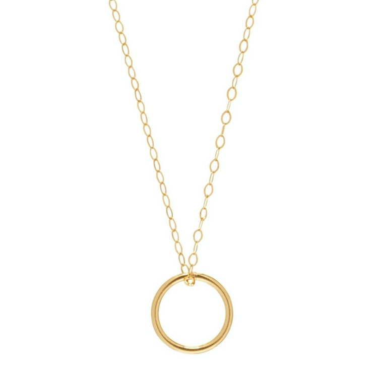 "16"" Necklace Gold- Halo Charm"