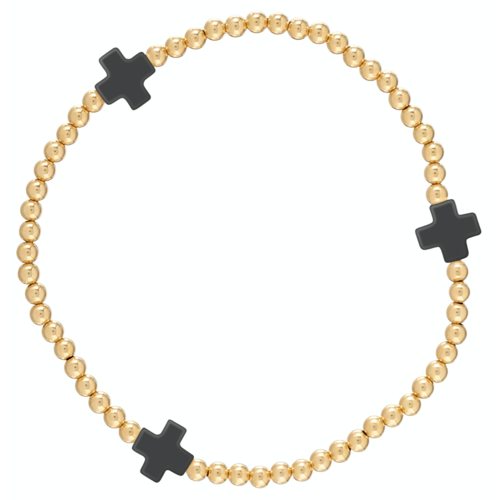 "Signature Cross Gold Bracelet ""Onyx"""