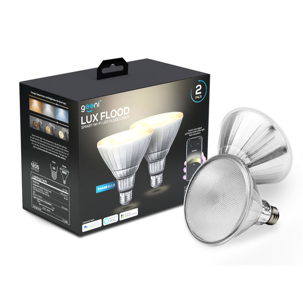 2 Pack LUX Flood PAR38  75W LED Tunable and Dimmable White Smart Wi-Fi Bulb