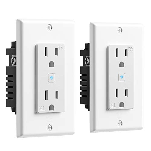 Wi-Fi Smart Wall Outlet With 2 Plugs - 2 Pack