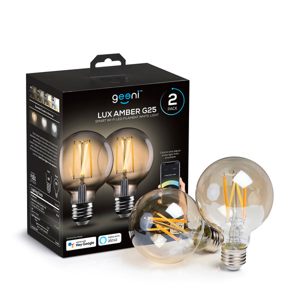 Lux Edison Amber G25 Smart LED Light Bulb - 100W Equivalent, White, Dimmable, Tunable, 2-Pack