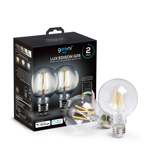 LUX EDISON 100W Equivalent White Dimmable G25 Smart LED Bulb 2 Pack