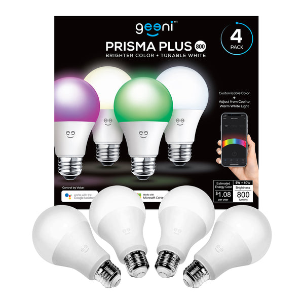 Geeni Prisma Plus 800 Wi-Fi LED Smart Light Bulb (4-Pack), 2700-6500K Tunable White, Dimmable, A19 60W, No Hub Required, Works with Amazon Alexa and Google Assistant