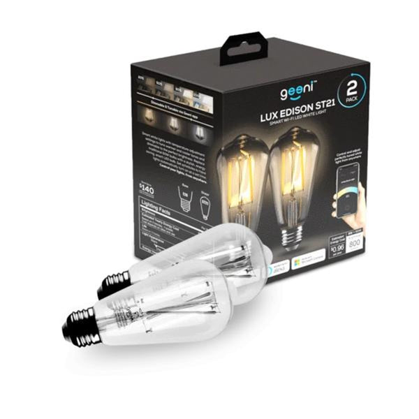 Geeni LUX Edison ST21 (ST64) Edison WiFi LED Smart Bulb, 2700K -6500K 8W, E26 Base, Dimmable, Tuneable White Light - 2 Pack