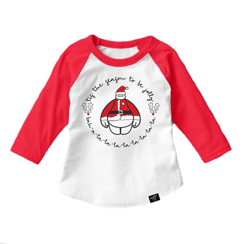 BE JOLLY RED RAGLAN
