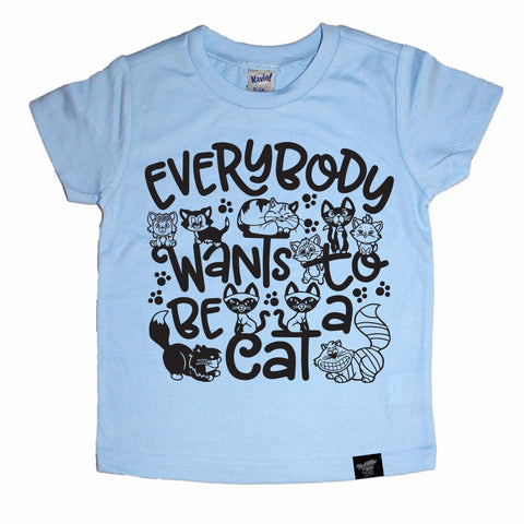 BE A CAT BLUE TEE