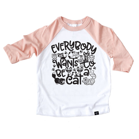 BE A CAT PEACH RAGLAN