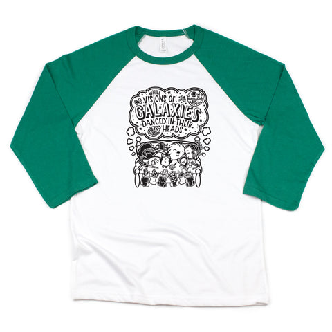 GALAXIES GREEN RAGLAN (ADULT)