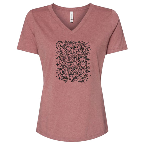 GIRL GANG DUSTY ROSE WOMEN'S V-NECK