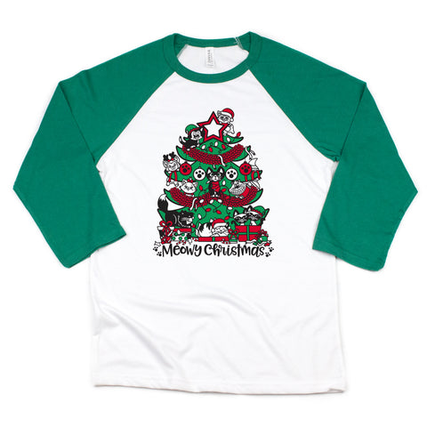 MEOWY CHRISTMAS GREEN RAGLAN (ADULT)