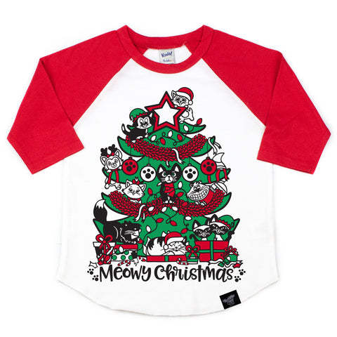 MEOWY CHRISTMAS RED RAGLAN